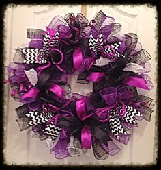 Purple and Black Deco Mesh Wreath/Purple and by CKDazzlingDesign