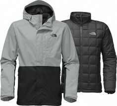 The North Face Men's Altier Down Triclimate Jacket - Monument Grey/TNF Black Jackets Green Raincoat, Raincoat Jacket, Hooded Raincoat, Raincoats For Women, Jackets For Women, North Face Outfits, 3 In 1 Jacket
