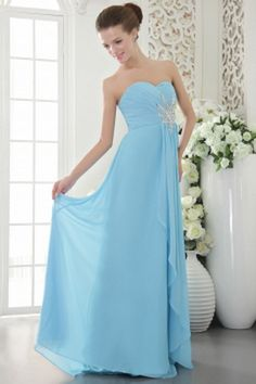 Sweetheart Classic Blue Bridesmaids Dress - Order Link: http://www.theweddingdresses.com/sweetheart-classic-blue-bridesmaids-dress-twdn2621.html - Embellishments: Beading , Crystal , Ruffles; Length: Sweep/Brush Train; Fabric: Chiffon; Waist: Natural - Price: 97.13USD