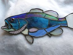 Large Mouth Bass Stained Glass Blue and Purple by GlassMonkeyArts, $79.00