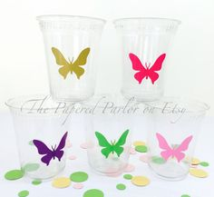 Set of 12 Party Supplies/Butterfly Party Cups/Butterfly Kisses/Butterfly Party/Butterfly Birthday/Butterfly Theme Party/Butterfly Baby Showe