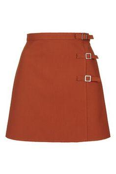 Raw Edge Buckle A-Line Skirt