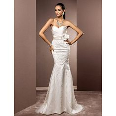 Trumpet/Mermaid Sweetheart Sweep/Brush Train Satin And Tulle Wedding Dress – USD $ 296.99 This gown fits in all the right places and leave room to dance the night away  http://www.lightinthebox.com