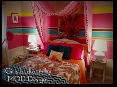 Little girls bedroom...Like the colorful wall