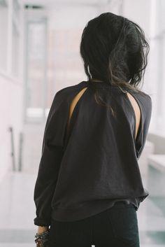 Front black t shirt fabric with back panel of mesh black cotton wide base back black gorgette