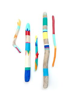 Painted Sticks  5 Piece Art Collection  Bold por bonjourfrenchie