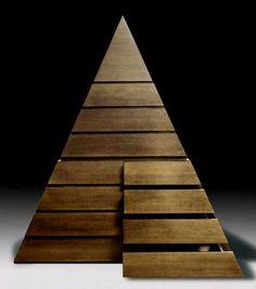 Wooden pyramid, Pierre Cardin.