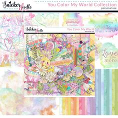 """You Color My World,"" by Snickerdoodle Designs was designed in soft pastel colors. The whimsical, watercolor elements are perfectly balanced with realistic embellishments to create a versatile kit for the traditional scrapper or the art journalist. Hearts, watercolor flowers, colored pencils, and doodles, are just some of the elements that will help you create fun pages, dedicated to those who color your world."