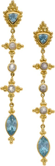 Paula Crevoshay Zircon, Moonstone, Gold Earrings, HT