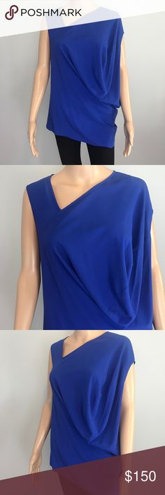 NWT Zero + Maria Cornejo cobalt asymmetric blouse NWT  COLOR: cobalt blue  SIZE: 4  MATERIAL: silk lycra blend  Made in the USA Zero + Maria Cornejo Tops Blouses