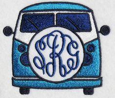VW Volkswagen Bus Van Embroidery Designs | Apex Embroidery Designs, Monogram Fonts & Alphabets