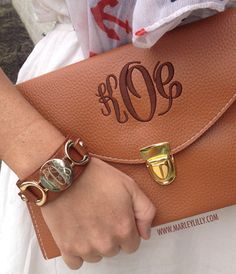 Monogrammed Brown Genuine Leather Cuff Bracelet goes great with our Monogrammed Brown Luxe Clutch!