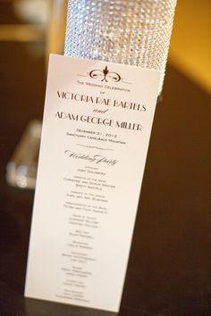 Elegant Program for Black Tie Wedding Ceremony Programs, Wedding Programs, Wedding Reception, Hollywood Glamour Wedding, Glamorous Wedding, Wedding Stationery, Wedding Invitations, Wedding Photos, Wedding Ideas