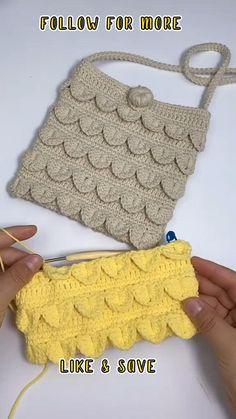 Crochet Bag Tutorials, Crochet Flower Tutorial, Crochet Videos, Crochet Projects, Beginner Crochet Tutorial, Crochet Pouch, Crochet Stitches Free, Easy Crochet, Crochet Basket Pattern