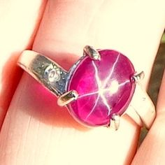 Star Ruby Ring Natural Pink Star Ruby Sterling by Steampunkitis, $79.00