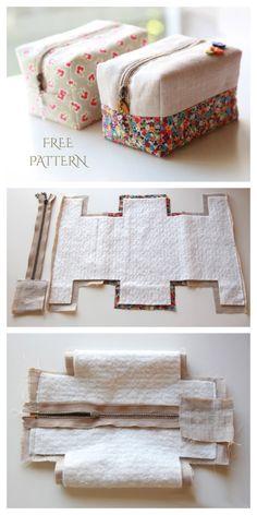 Bag Patterns To Sew, Sewing Patterns Free, Free Sewing, Fabric Patterns, Pouch Pattern, Pattern Fabric, Sewing Hacks, Sewing Tutorials, Sewing Projects
