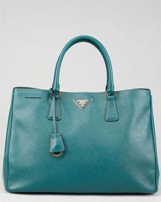 Prada Teal Saffiano Leather Shoulder Bag