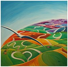 """Acrilico su tela cm 100x100  """" Viagio nei colori del mondo """" artista: Mariarosa Ferè"""