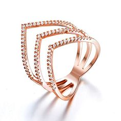 Redbarry Triple V Shaped Rings with Micro CZ Stones Paved in 18k Rose Gold Plated, Size 6.5. Amazing triple V design, beautifully crafted dozens of round cut micro cubic zirconia, nickel and lead free, finished in high polish 18k rose and white gold plated, best middle finger ring shows your personality and taste. Size: 5.5/6.5/8/9 Net Weight: 4.6g. Warm Prompt: <br> 1. Differences in Color May Be Caused by Reflection of Computer Or light When Taking Pictures. <br> 2. Please Keep Your…