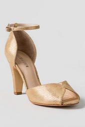 Chelsea Crew Shoes, Lola Peep Toe Pump in Gold