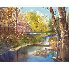 Bridge Painting watercolor Landscape Print River by derekcollins, $39.00