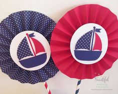 2 6 Nautical Rosettes Centerpieces Ahoy by BeautifulPaperCrafts 1st Birthday Parties, Birthday Party Decorations, Baby Showers Marinero, Anchor Paper, Sailor Baby Showers, Shower Bebe, Baby Shawer, Nautical Party, Paper Fans