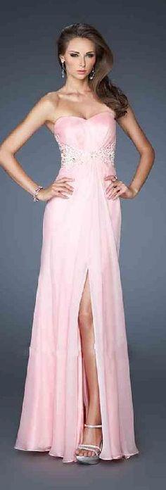 Cute Pink Sleeveless Long Strapless Chiffon Evening Dresses Sale dadadresses11612retge #longdress #promdress