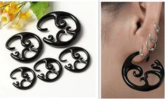 Carved Flower Resin Taper Twist Ear Expander Spiral Plugs Fake Cheater Gauges