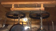 Iron wheels from Grampie's for a pot rack!