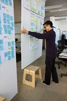 DIY:  Ikea Benjamin stool made into brainstorming board holder or divider - for reports, display, expo, art walk