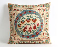 Suzani pillow embroidered floral flowers gift for her gift for mom gift for women hand embroidery ha