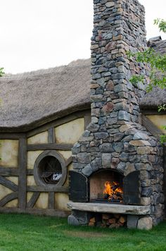 Love this stone fireplace