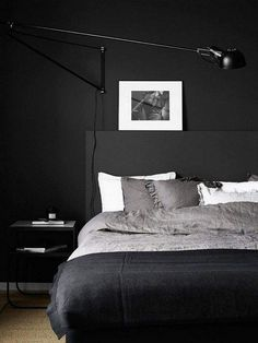 37 Marvelous Black Bedroom Color Schemes Ideas To Try Asap - Bedroom paint color schemes can help you redo your entire home. Often the bedroom is one of the last rooms to be decorated in a home simply because it. Color Schemes Design, Bedroom Color Schemes, Bedroom Colors, Home Decor Bedroom, Bedroom Ideas, Black Carpet Bedroom, Bedroom Black, Modern Bedroom, Black Walls