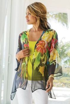 This sort or poncho, over black tank, or cami, evening outfit Silk Floral Top from Soft Surroundings