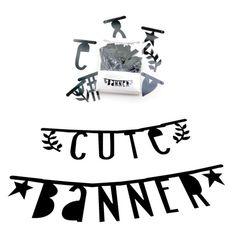 A little lovely company, banner med bogstaver - sort | LirumLarumLeg
