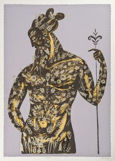 'Woodwose' (2015) by British artist & printmaker Sarah Young. Silkscreen. via the artist's blog