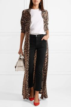 beautiful outfit with a leopard cardigan : bag + red heels + white tee + black skinnies Leopard Print Outfits, Animal Print Outfits, Animal Print Fashion, Animal Prints, Animal Print Jeans, Leopard Print Cardigan, Leopard Prints, Leopard Fashion, Animal Print Style