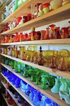 Antique glass grouped in colors.