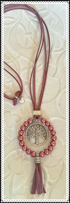 Uses tree of life charm.DIY your photo charms, comut shellspatible with Pandora bracelets. Make your gifts special. Make your life special! Leather Necklace, Diy Necklace, Leather Jewelry, Necklace Designs, Wire Jewelry, Boho Jewelry, Jewelry Crafts, Beaded Jewelry, Jewelery