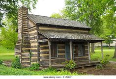 log cabin at the University of Pittsburgh PA - Stock Image