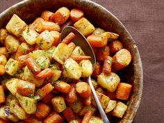 Roasted Celery Root and Carrots Recipe : Food Network Kitchens : Recipes : Food Network Carrot Recipes, Vegetable Recipes, Vegetarian Recipes, Cooking Recipes, Healthy Recipes, Celeriac Recipes, Vitamix Recipes, Vegan Vegetarian, Couscous