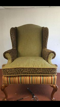 Leopard print wing chair
