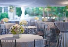 Fabulous tented garden wedding reception planned by The Wedding Belle with gorgeous rentals from Marianne's Rentals for Special Events, lighting by Innovative Event Solutions and florals by Hydrangea Floral.   Photo by Chris Humphrey Photographer  #backyard #garden #wedding #tented