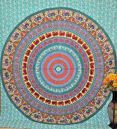 Hippie Mandala Indian Tapestry, blue Cotton Mandala Bedspread In blue, Bohemian Screen Printed Bed Cover, tapestry, Block Printed Bed Sheet