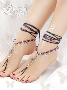 Purple Barefoot Sandals, Silver Barefoot Sandles, Bellydance Sandle