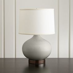 Merie Grey Table Lamp with Bronze Outlet Base | Crate and Barrel