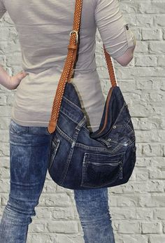 Image result for blue jean hobo bag