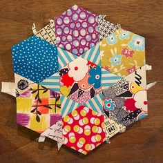 My #epp from #quiltbliss class with @thequiltbarn and even though I knew how to epp, I have officially been converted to glue basting! Thanks, Heather Fabric is #gardenvale by Jen Kingwell for @moda