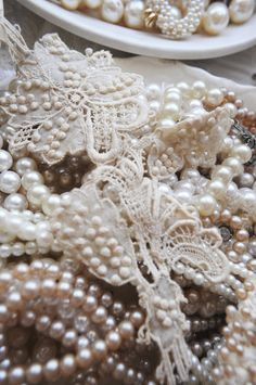 """""""I'm content with my string of pearls, Happy gave them to me. Vintage Pearls, Vintage Lace, String Of Pearls, Pearl And Lace, Linens And Lace, Lace Ribbon, Pearl Jewelry, Delicate, Crystals"""