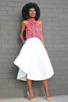 Style Pantry | Printed Halter Top + White Flounce Midi Skirt
